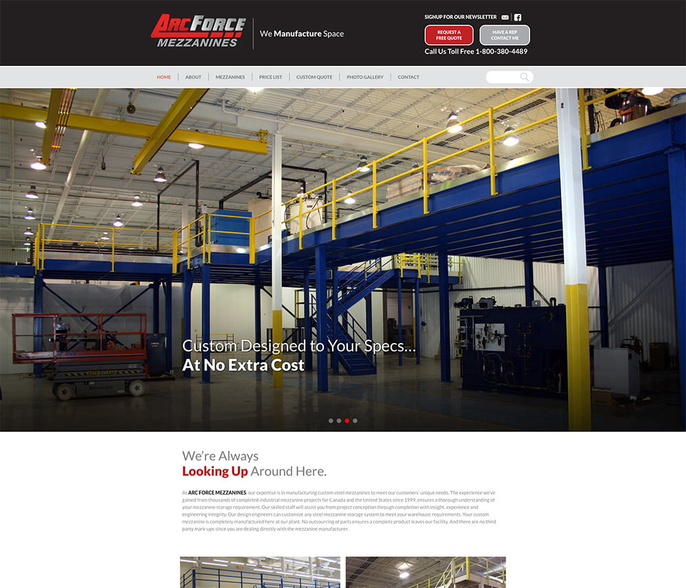 Arc Force Mezzanines Website Development