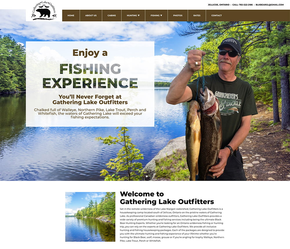 Gathering Lake Outfitters Website Development